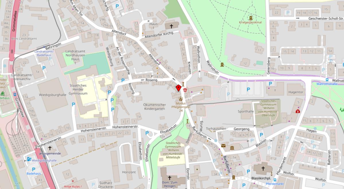 Karte Bürostandort Nordhausen